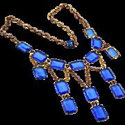 Blue Art Deco Unfoiled Necklace