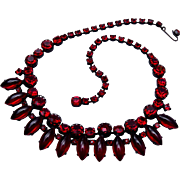 RED Rhinestone Necklace with Japanned Metal