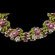 Enameled Flower and Rhinestone Necklace