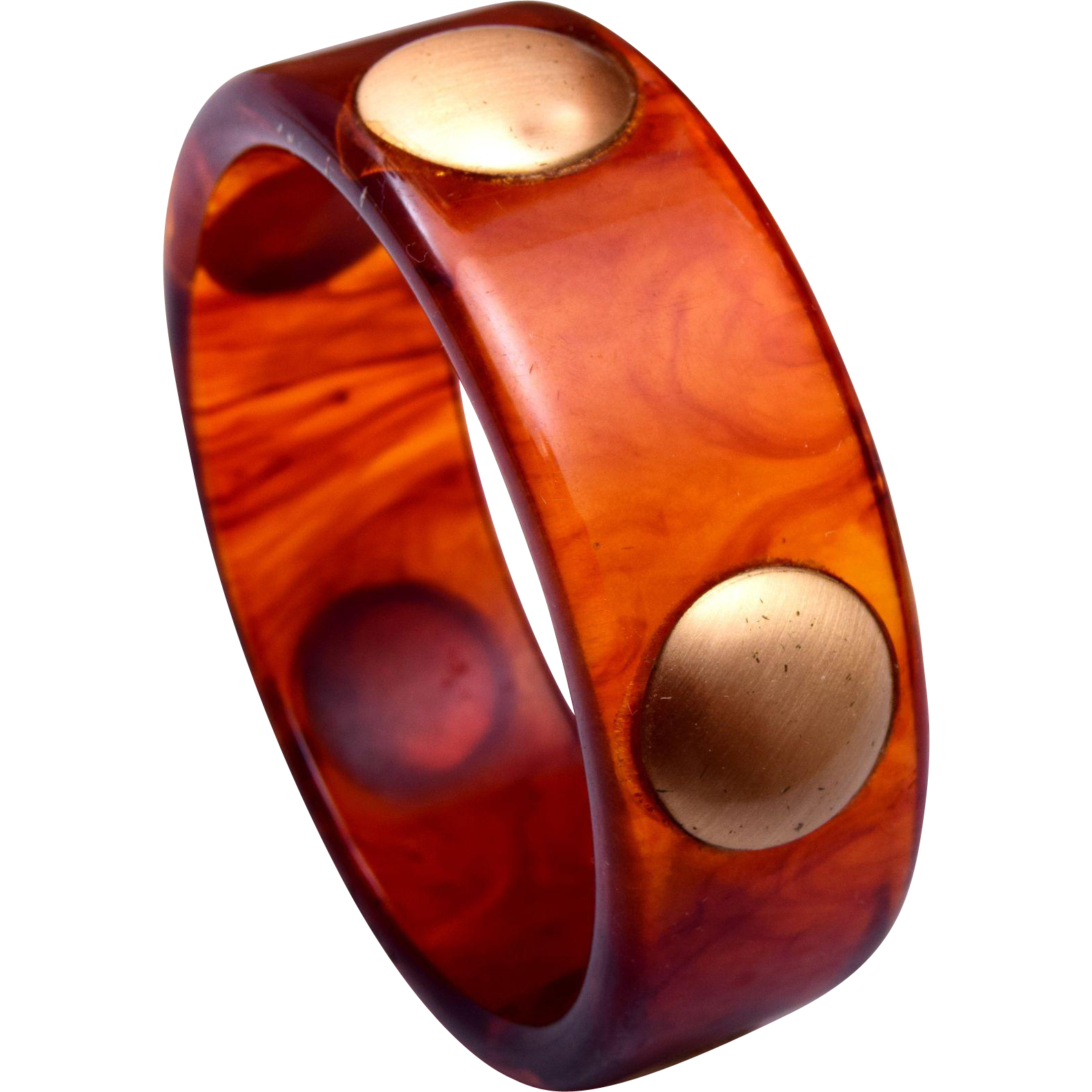 Rootbeer Bakelite Bangle With Metal Dots
