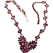 Jayflex Sterling Pink and Purple Rhinestone Necklace