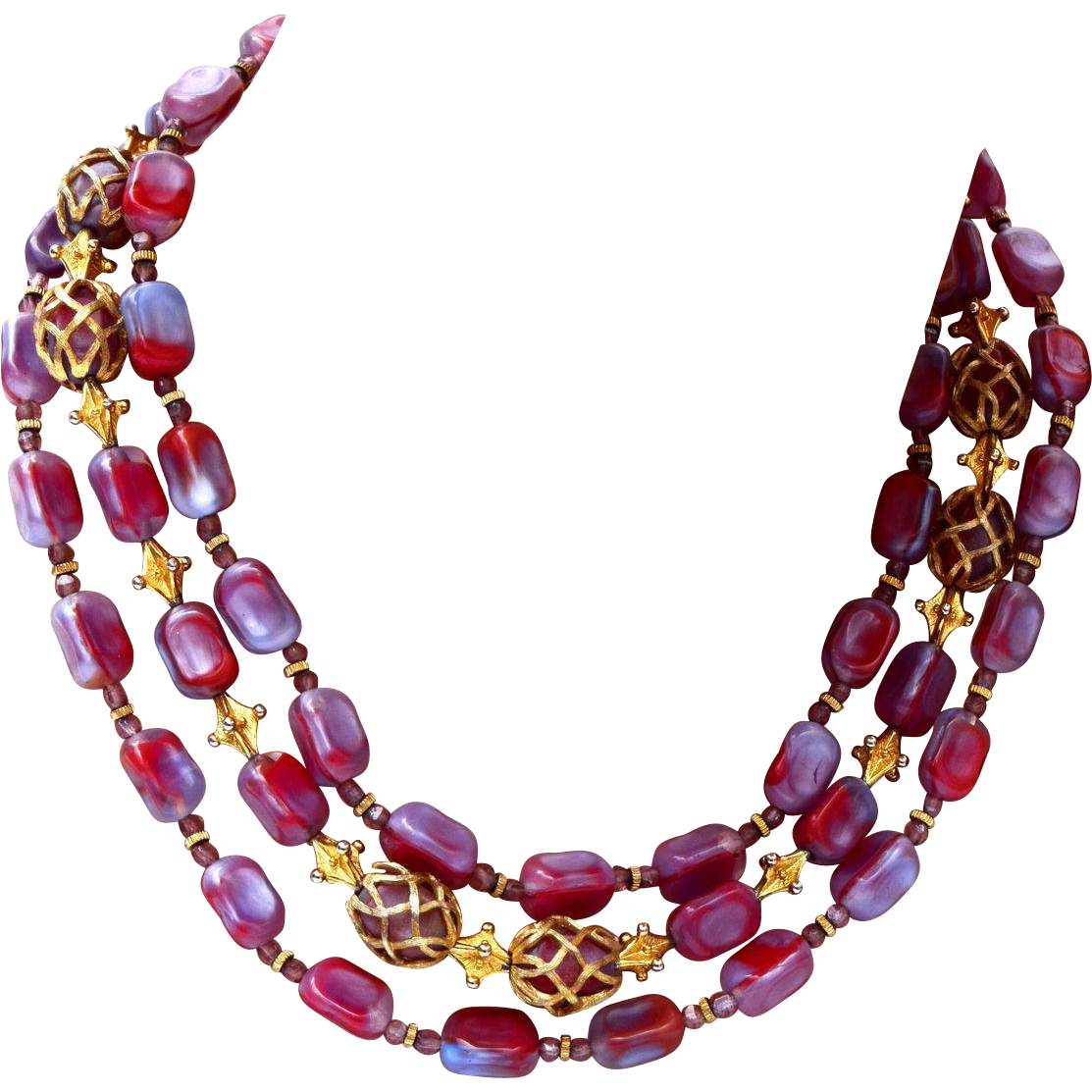 Hattie Carnegie 3 Strand Glass Necklace