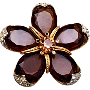 ART Unfoiled Brown Rhinestone Star Brooch