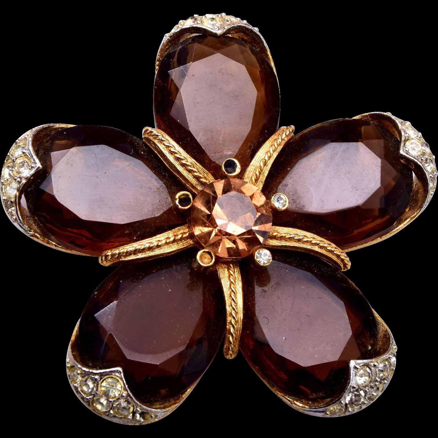 ART Unfoiled Brown Rhinestone Star Brooch