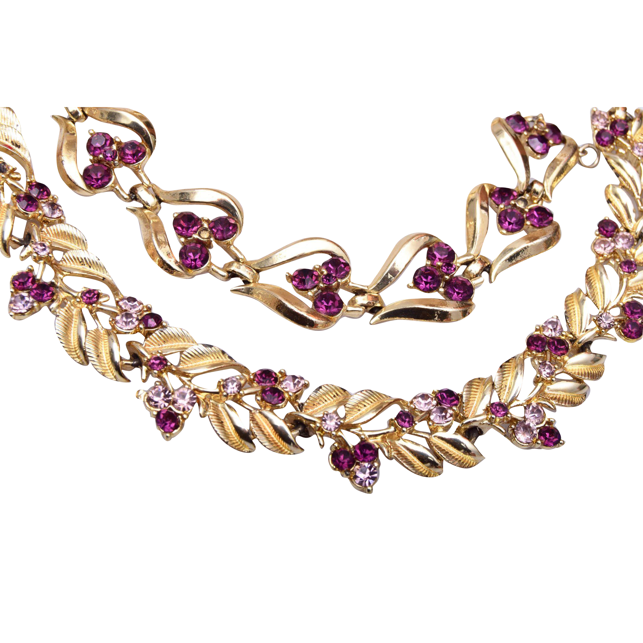 Coro Purple Rhinestone Necklace and Bracelet Set