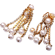 Drippy Rhinestone and Faux Pearl Dangling Earrings