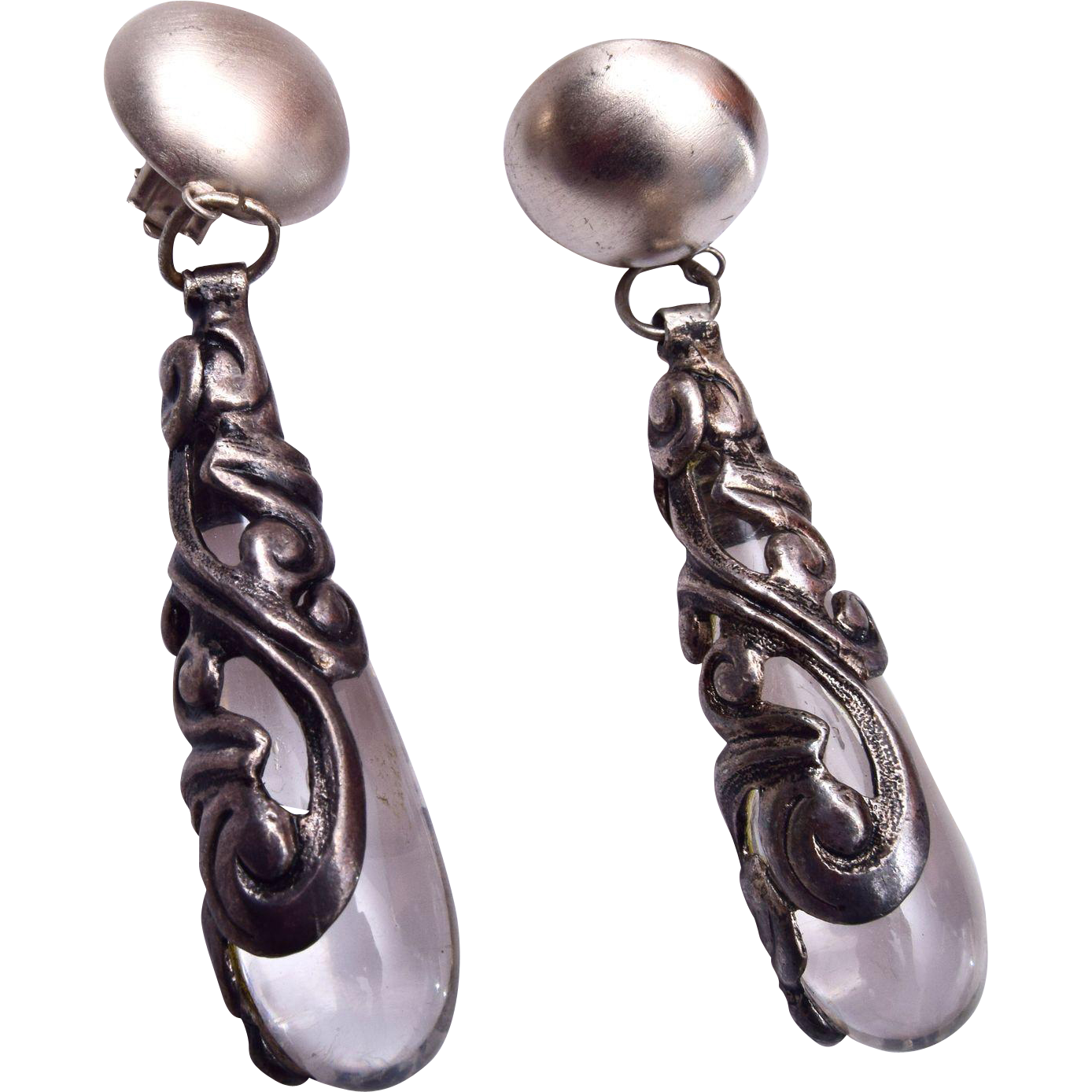 Shoulder Ticking Lucite and Silver Earrings
