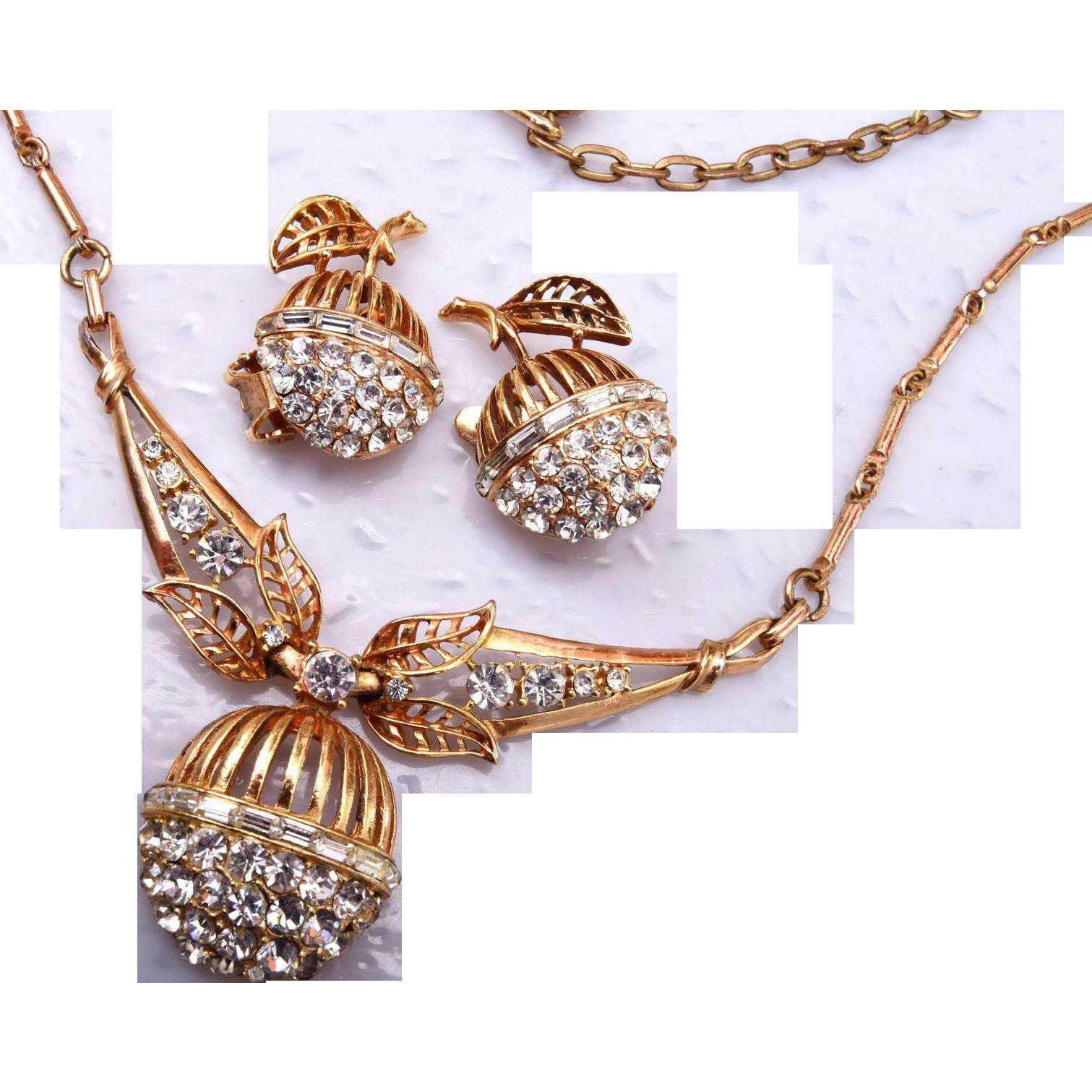Rhinestone Fruit Necklace and Earring Set