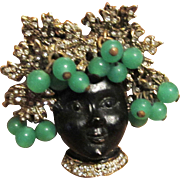 Blackamoor With Green Glass Headdress Brooch
