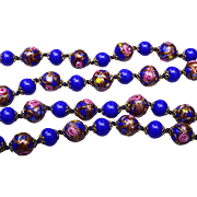 Venetian Glass Blue Wedding Cake Beaded Necklace