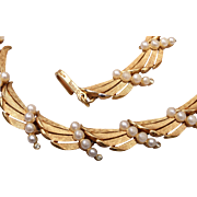 Trifari Brushed Gold and Faux Pearl Necklace