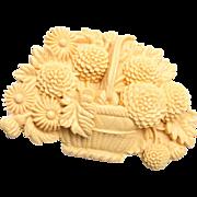 Lupa J Carved Bone Brooch or Pendant