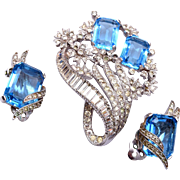 Jomaz Blue Rhinestone Brooch and Earring Set