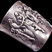 Hans Jensen Whale Hallmark Repoussé Cuff Bracelet