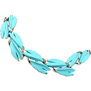 Turquoise Thermoset Leaf Bracelet