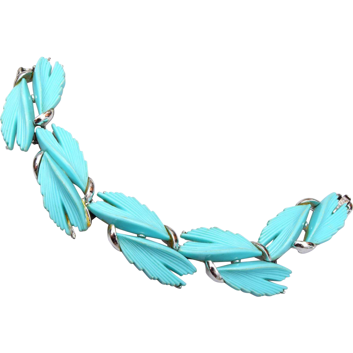 BSK Turquoise Thermoset Leaf Bracelet