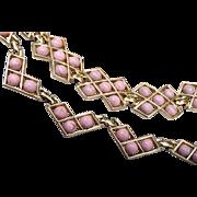 Pink Thermoset Necklace and Bracelet Set