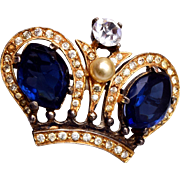 Sterling Castlecliff Crown Brooch