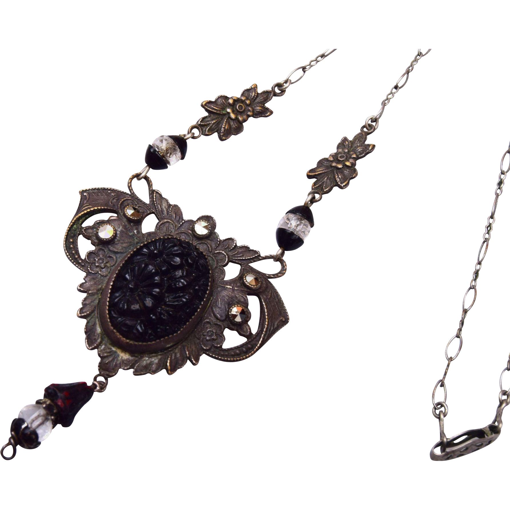 Black Molded Glass, Crystal and Marcasite Necklace