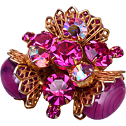 Regency Pink Art Glass Brooch