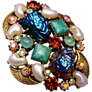 Florenza Lava and Faux Mabe Pearl Brooch