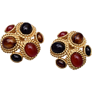 Ciner Black and Carnelian Cabochon Earrings