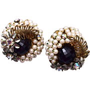 Hobe' Faux Pearl, Black Crystal and Rhinestone Earrings