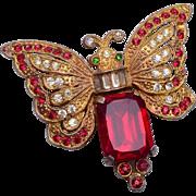 Red Rhinestone Butterfly Brooch
