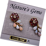 Genuine Stone Pierced Earrings