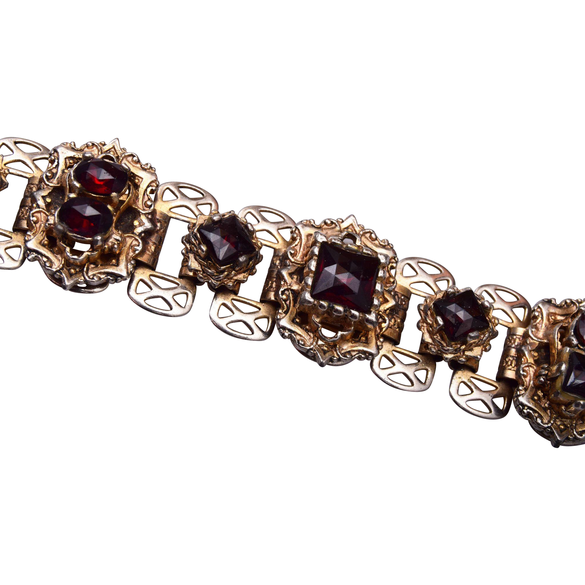 Rose Cut Faux Garnet Bracelet