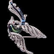 Nolan Miller Rhinestone Bird Brooch