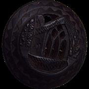 Black Bog Oak Antique Carved Brooch