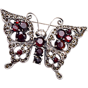 Silver Garnet and Marcasite Butterfly Brooch