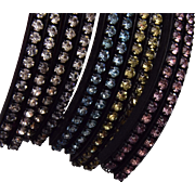 1950's Joseph Warner 5 Rhinestone Bangle Bracelets