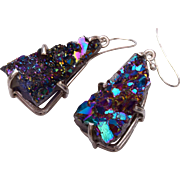 Titanium Druzy Drop Pierced Earrings