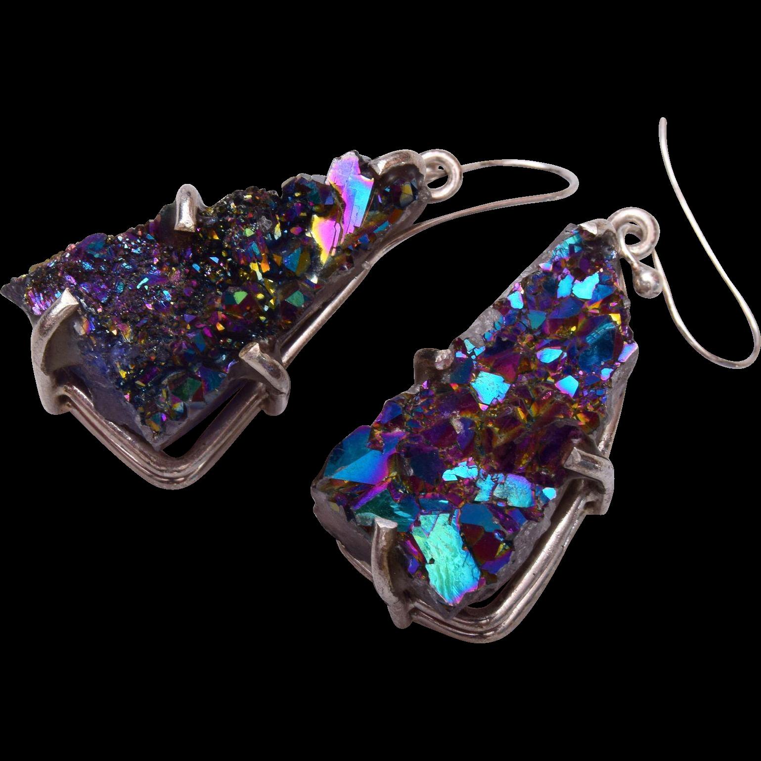 Titanium Druzy Drop Pierced Earrings