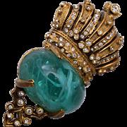 Cadoro Green Art Glass Brooch