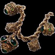 Benedikt NY Green Stone Fob Charm Bracelet