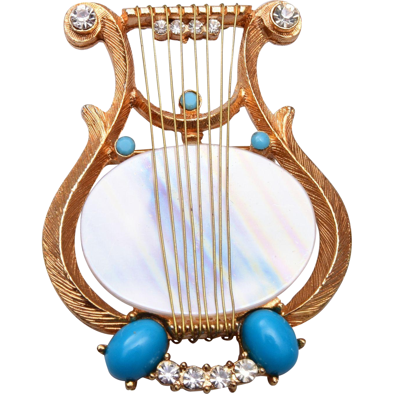 R. Mandle Turquoise Lyre Brooch