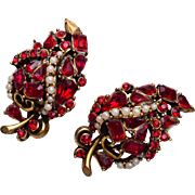 Hollycraft 1953 Red Rhinestone Earrings