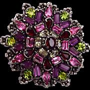 Hollycraft 1954 Purple and Pink Rhinestone Brooch