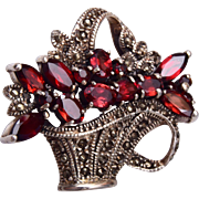 Sterling and Garnet Flower Basket Brooch
