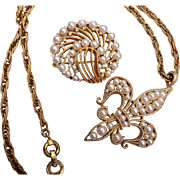 Trifari Faux Pearl Brooch and Necklace Set