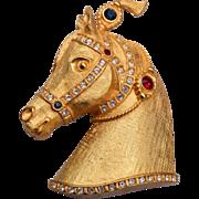 Gene Verrechhia Jeweled Horse Head Brooch