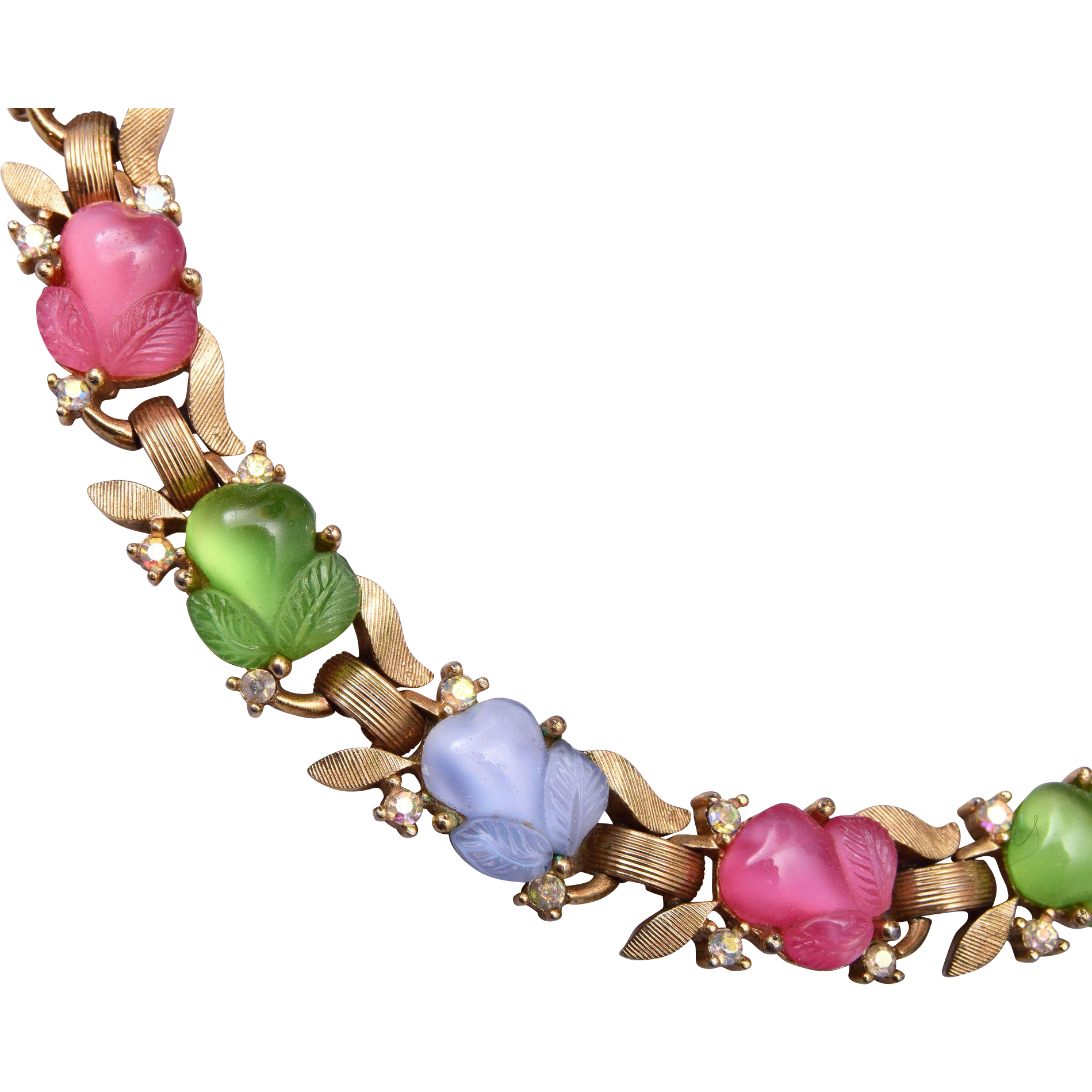 Trifari Pastel Glass Fruit Salad Bracelet