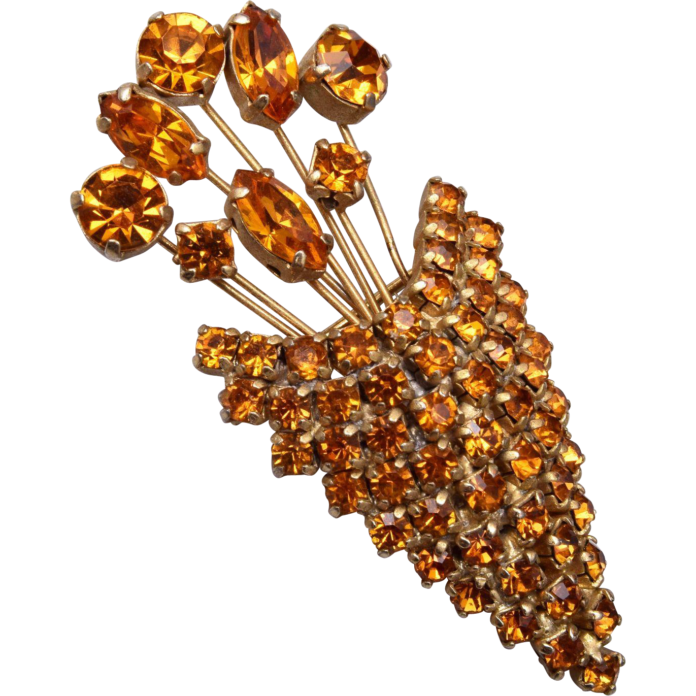 Kramer of New York Topaz Flower Basket Brooch