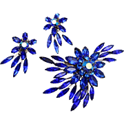 Judy Lee Blue Rhinestone Brooch and Earring Set