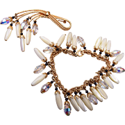 Napier Mother of Pearl and Crystal Dangle Brooch and Bracelet