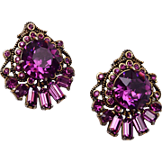 Hollycraft 1955 Purple Rhinestone Earrings