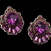 Hollycraft 1955 Purple Rhinestone Earrings